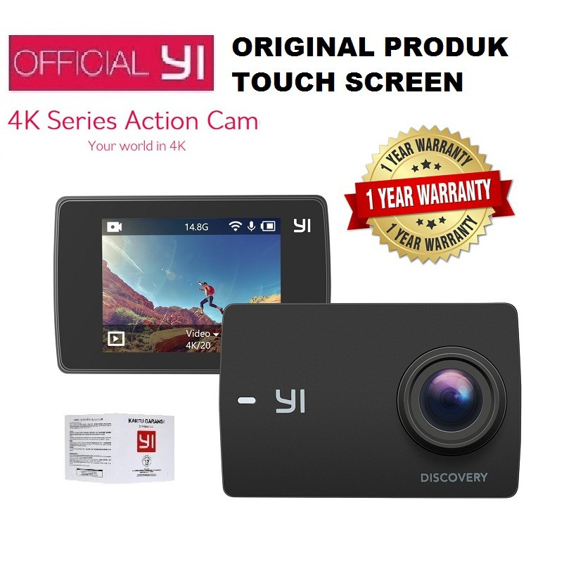 Stok Terbatas Fji0699 Xiaomi Yi Discovery Action Camera 4k 20fps Garansi Paket Lengkap   Shopee Indonesia
