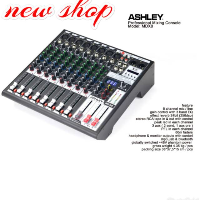Mixer Ashley audio mdx8 usb bluetooth 8channel original Ashley