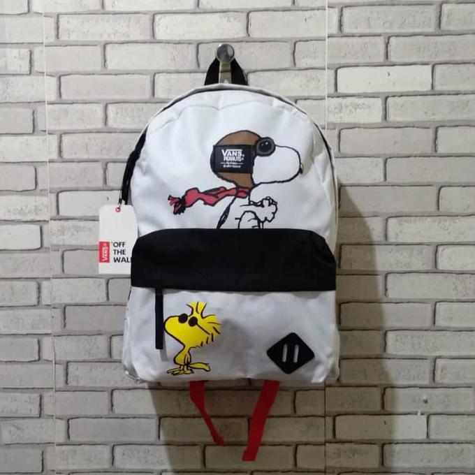 Tas Backpack Vans x Peanuts Snoopy Old Skool White (Mirror 1:1)
