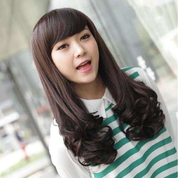 New R936 Wig Long Curly Panjang Keriting Gantung Poni Samping Hitam Coklat Shopee Indonesia