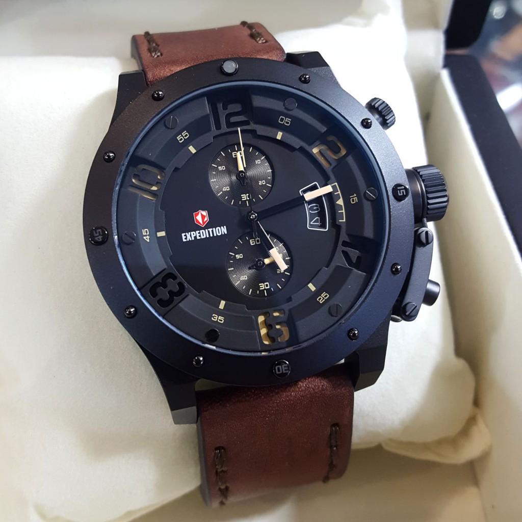 Expedition E6381 Original Stainless Leather Pria Coklat Black E 6381silver Shopee Indonesia