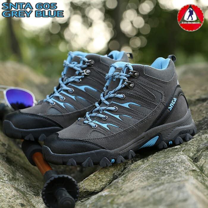 Sepatu Wanita Hiking Gunung Outdoor Snta 605 Grey Lt.Blue  f9254b5c9d