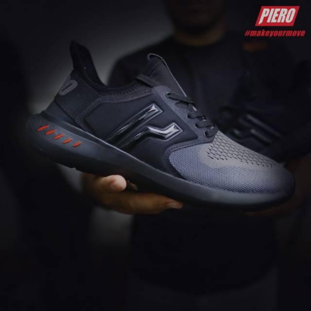 Sepatu PIERO LEGION Z1 KNIT BLACK GREY Sneakers Original Terbaru ... 6b4420e9c6