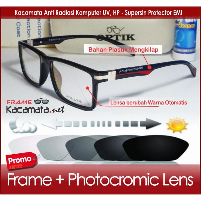 Frame Kacamata Hitam Korea Pria Wanita Design P6001 - Lensa Plus   Minus  Anti Radiasi Photocromic  3be3985db2