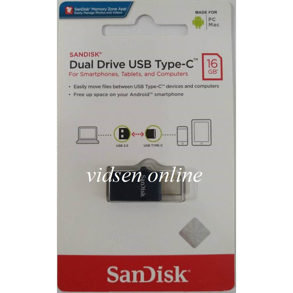 Sandisk Flashdisk Otg Type C 16gb Usb 31 Up To 130mbps Shopee 32gb Black Indonesia