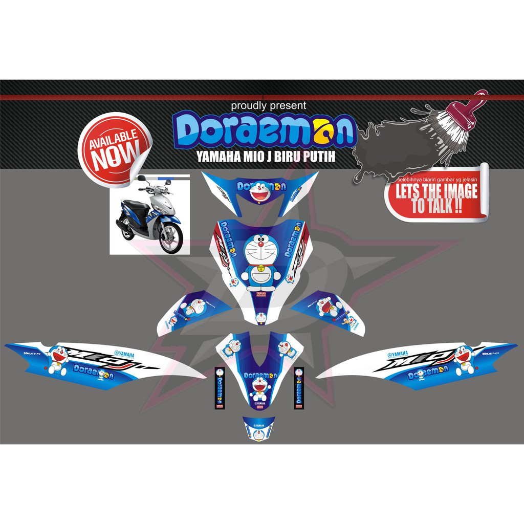 Striping motor sticker motor decal motor yamaha mio smile black blue shopee indonesia