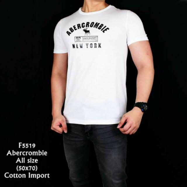 F5519 kaos pria abercrombie putih  ec2d4e6b7e