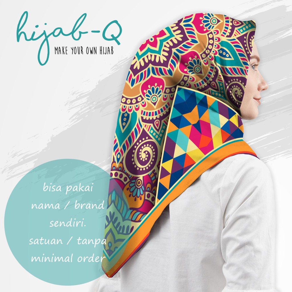 hijab voal segi empat custom bisa pakai nama sendiri (HQ - 9)