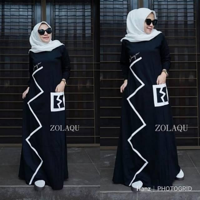 Gamis Kaos Zolaqu Ori Black Zigzag Shopee Indonesia