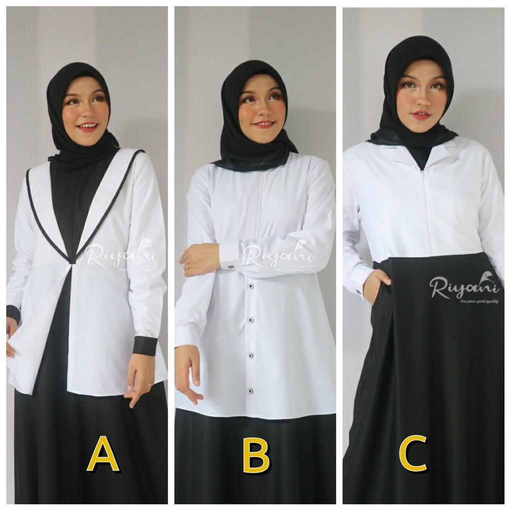 Gamis Uniform Formal Riyani Hitam Putih PNS Guru Bidan Perawat tenaga  kesehatan depag
