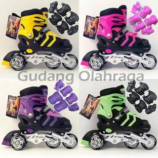GO180 Sepatu Roda BAJAJ + Deker   Pelindung Inline Skate Satu Set ... 2ee8953ecd