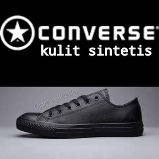 Sepatu Sekolah Converse Allstar Kulit Full Hitam Grade Ori 054d5d952