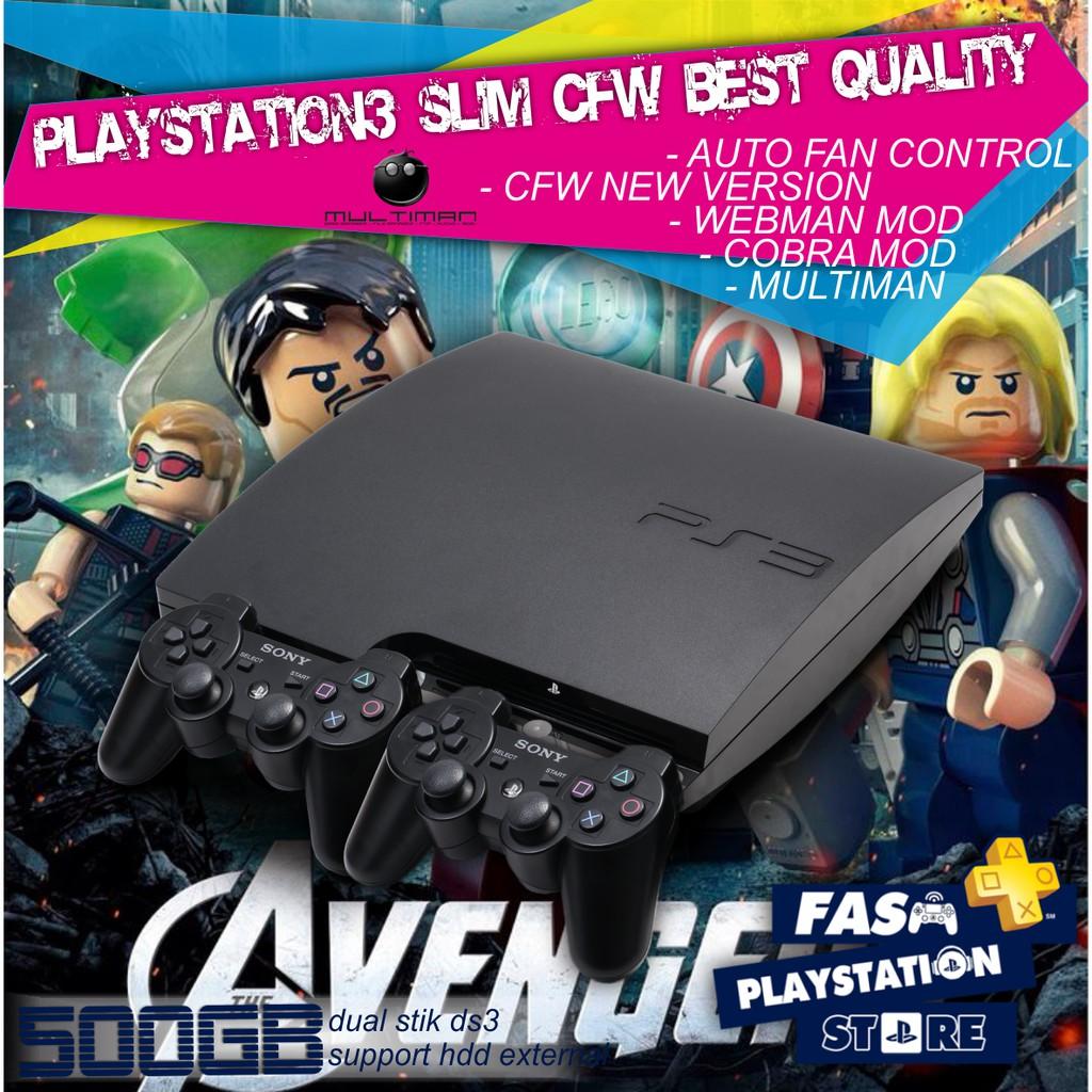Playstation3 Slim 500gb Fullgame Cfw Ps 3 Playstation 2 20xxx Refurbish 480 Hdd Internal 120gb 250gb Ps3