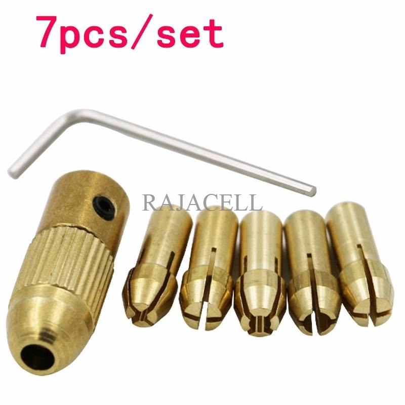 harga 7in1 5pcs Chuck set Drill Collet motor DC Coupling mini Bor + kunci L Shopee.co.id