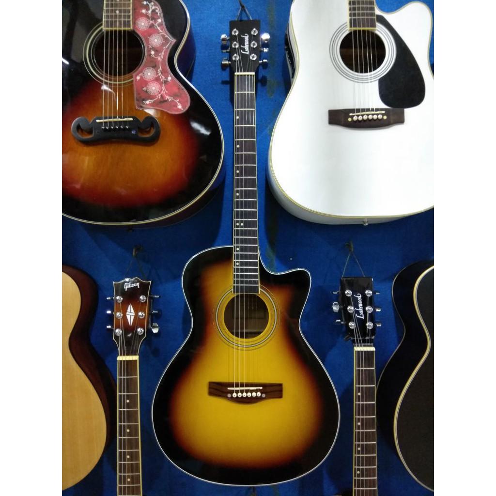 Gitar Akustik Jumbo Cyprus Taylor Natural Double Round Inlay Kerang Murah Jakarta