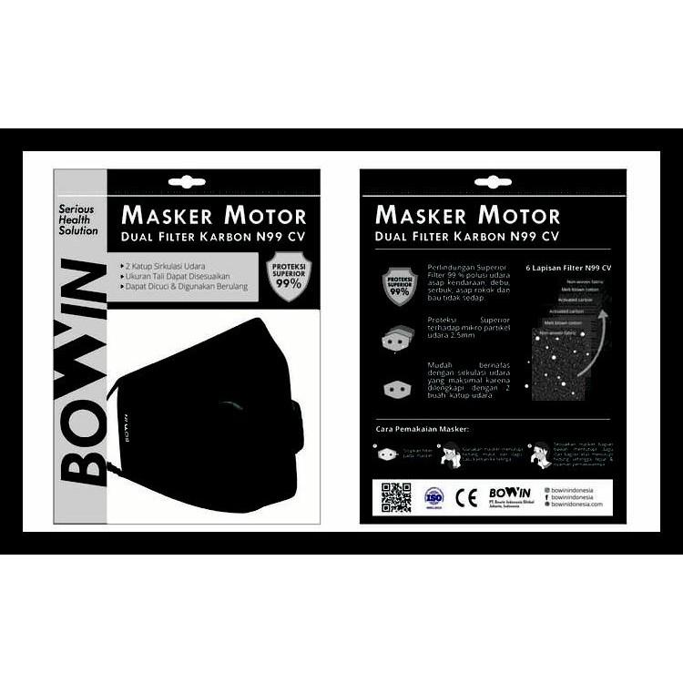 Solid Masker 76 N99 - Motor Anti Kode Cv Karbon Filter Polusi Dual Bowin masker Black