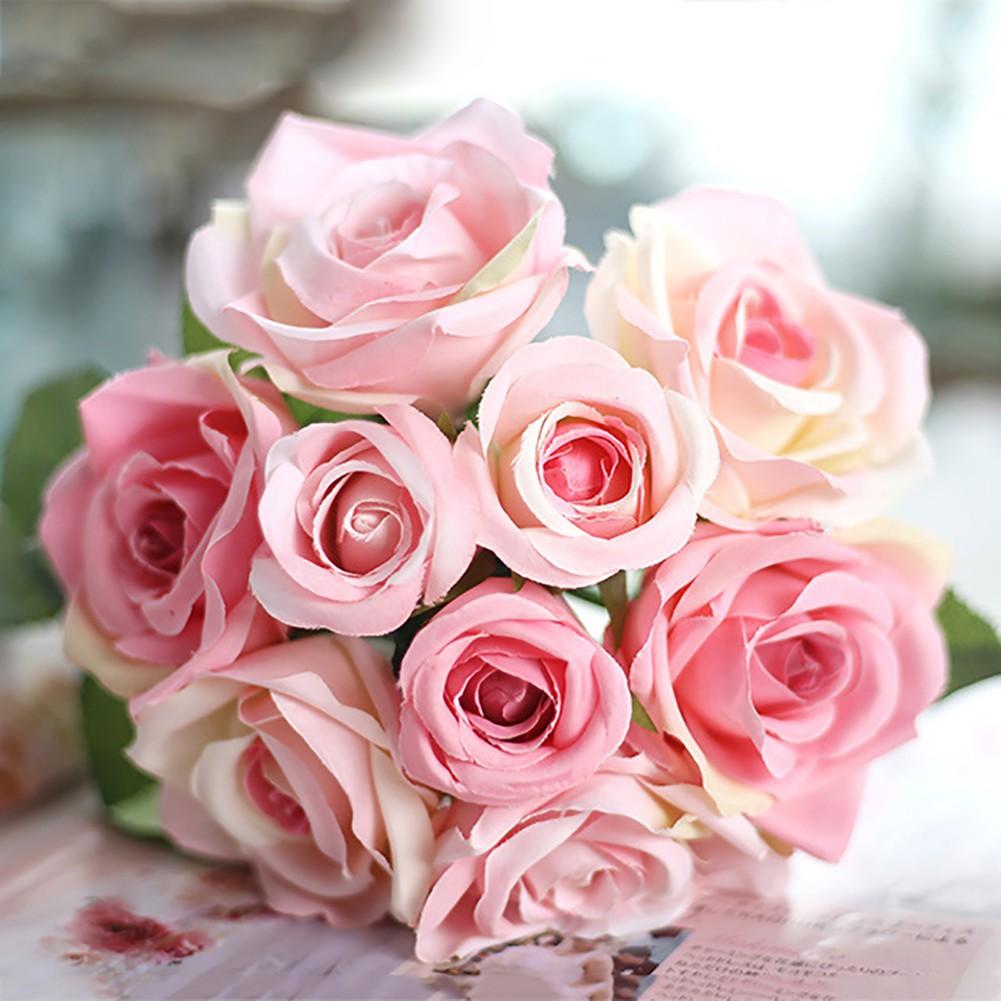 COD!!!1 pcs Buket Bunga Mawar dan Daun Tiruan Dekroasi Pernikahan Rumah  bef62c1348