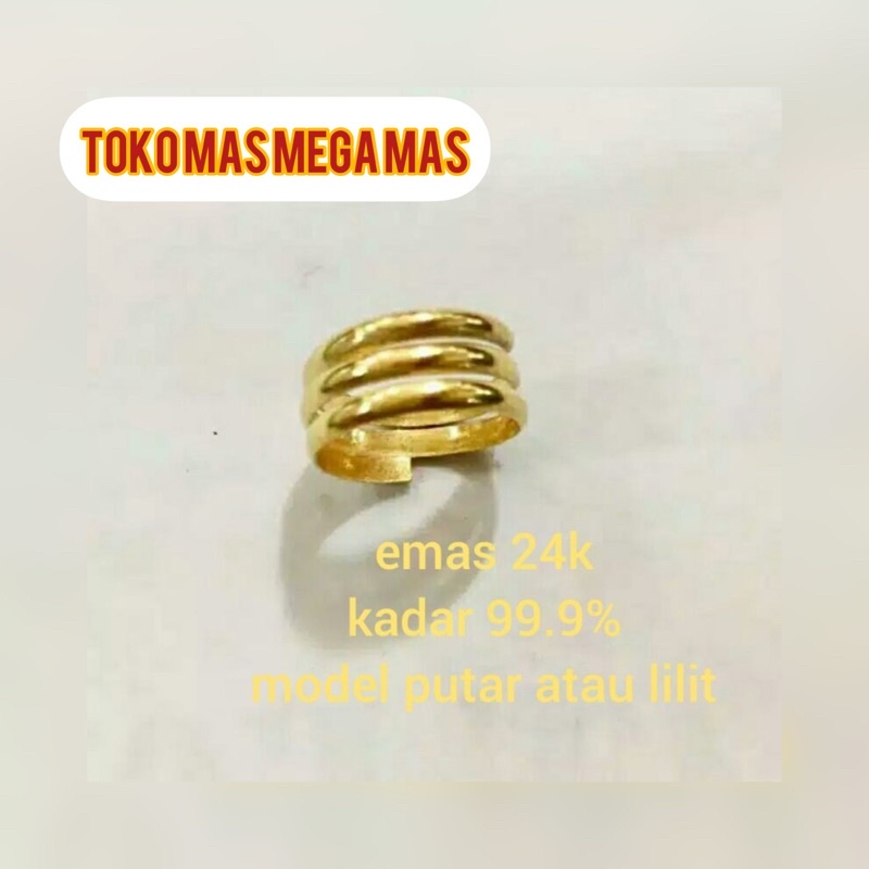Cincin lilit emas asli 24k 99/999.5%