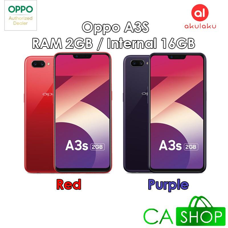 Oppo A3S - RAM 2GB ROM 16GB (2/16) - Red / Purple - Baru NEW - Resmi