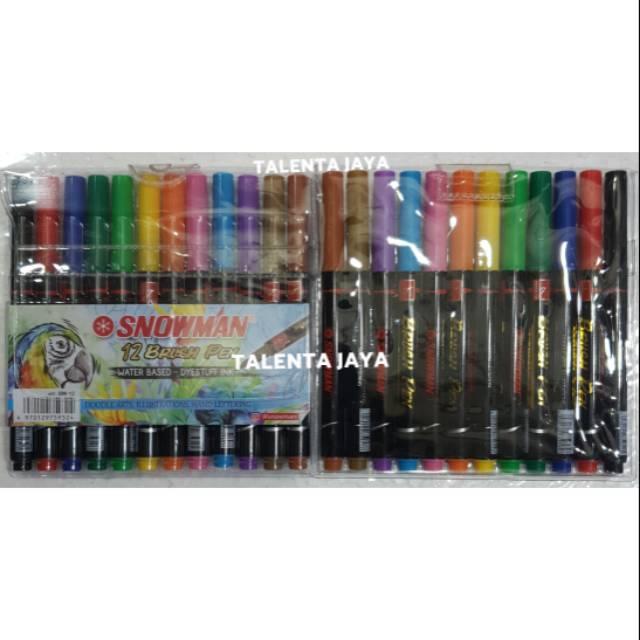 Spidol Snowman Brush Pen Kaligrafi 12 Warna Shopee Indonesia