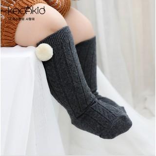[Lovelygubuk] Kaos kaki panjang, middle socks polos pom pom anak, Kaos kaki pom bulat