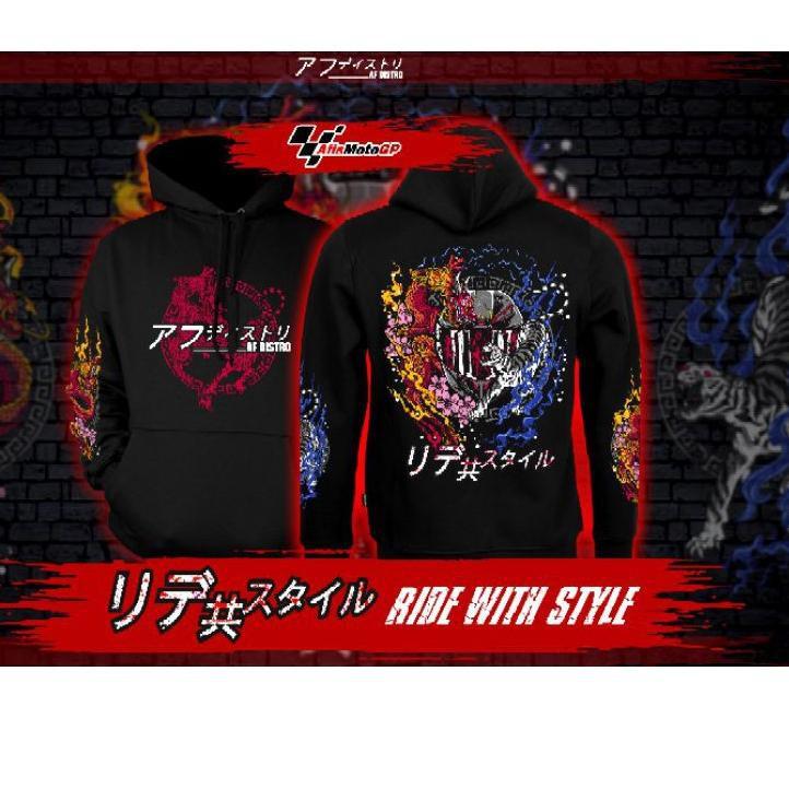 (kode-764) hoodie sunmori japanese limited edition ride with style hoodie kohaku naga tiger agv pist