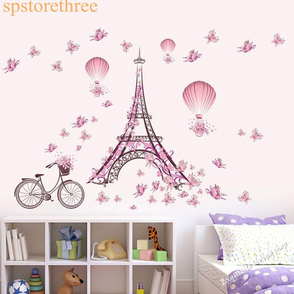 1Pc Stiker Dinding Dengan Bahan Vinyl Dan Gambar Menara Eiffel Warna Pink Untuk Dekorasi Kamar Anak
