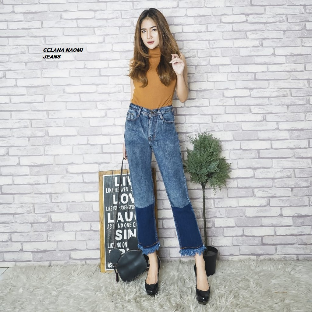 Celana Jeans Wanita Casual Celana Model Mix Warna Style Wanita Kekinian Celana Nikita Naomi Shopee Indonesia