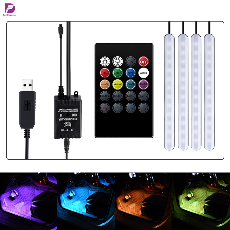 Fs Wireless Remote Control Car Rgb Led Strip Lights Multicolor Music Car Interior Usb Led Strip With Sound Active Function Shopee Indonesia