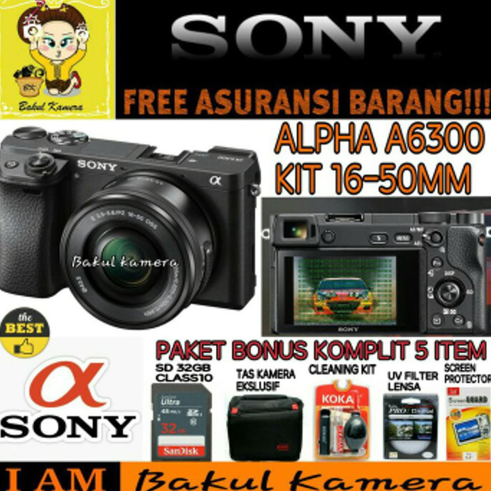 SONY Alpha 6300 Black with 16-50mm Lens Mirrorless Camera a6300 4K WiFi 24MP Exmor CMOS Sensor | Shopee Indonesia