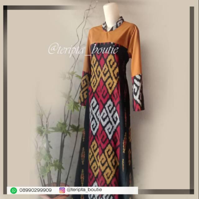 Gamis Tenun Troso Kombi Polos Jahitan All Size Shopee Indonesia
