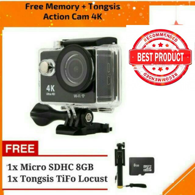 Action Camera 4K 16mp Wifi Free Tongsis dan Memory like kogan bcare gopro xiaomi | Shopee Indonesia