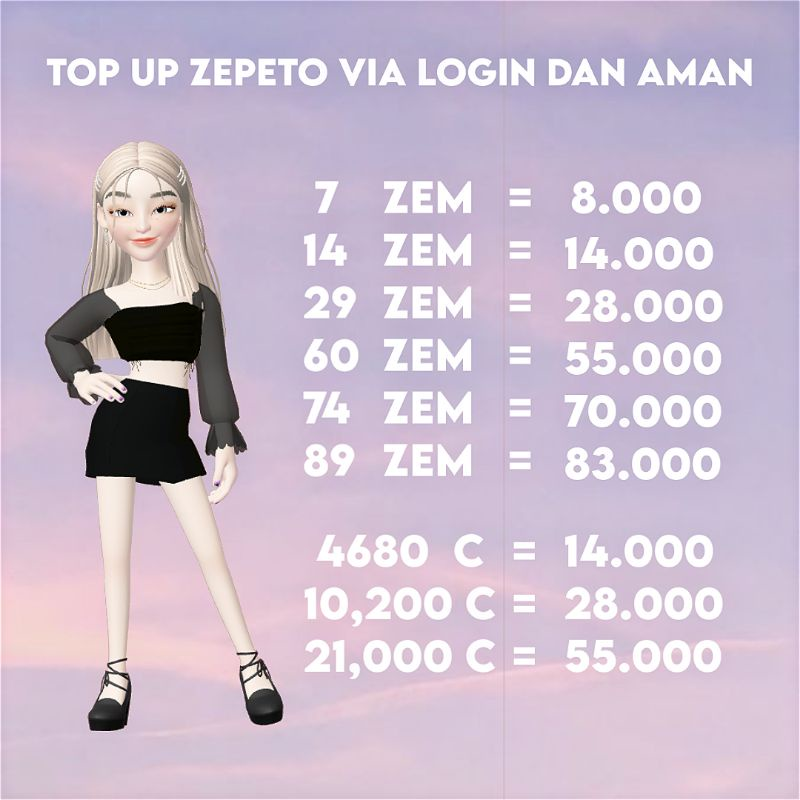 TOP UP ZEM ZEPETO VIA LOGIN AMAN LEGAL TERPERCAYA