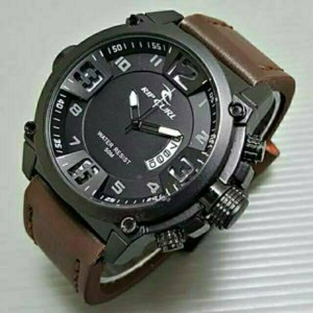 Jam tangan pria RIPCURL tali kulit double time dua waktu ada kompas free baterai cadangan RK011 | Shopee Indonesia