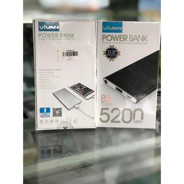 "Powerbank VIVAN B5 5200 mAh ""BLACK"" Super Slim Original | Shopee Indonesia"