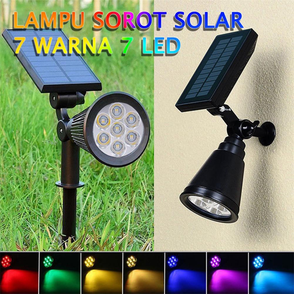 Lampu Sorot Led Solar Panel Lampu Taman Tenaga Surya Lampu 7 Warna 7 Led Panel Surya Shopee Indonesia
