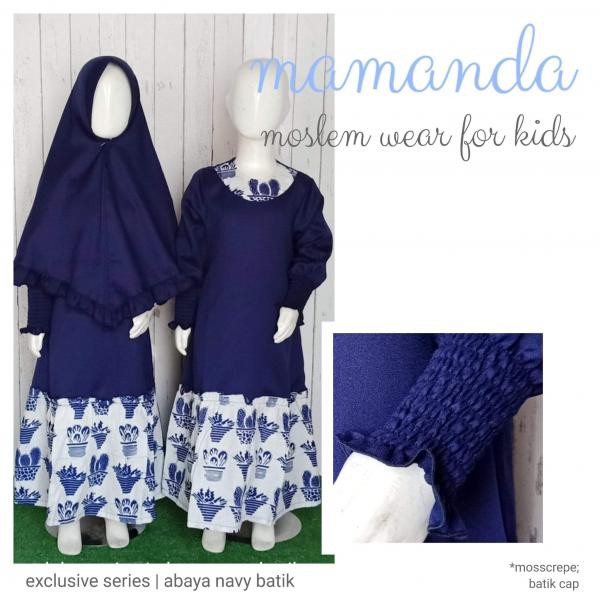 Gamis Anak Aby. Navy Batik Exclusive Series by Mamanda