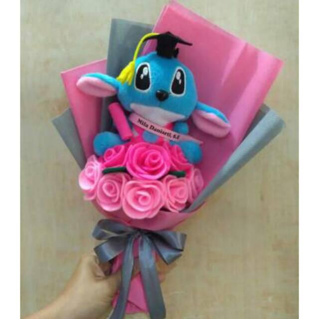 J T Buket Bunga Flanel Boneka Panda Hello Kitty Stitch Doraemon Minion Keropi Wisuda Kado Wisuda Shopee Indonesia