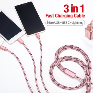 Kabel Charger USB Tipe C Micro USB untuk iPhone x 8 7 6 6S 5