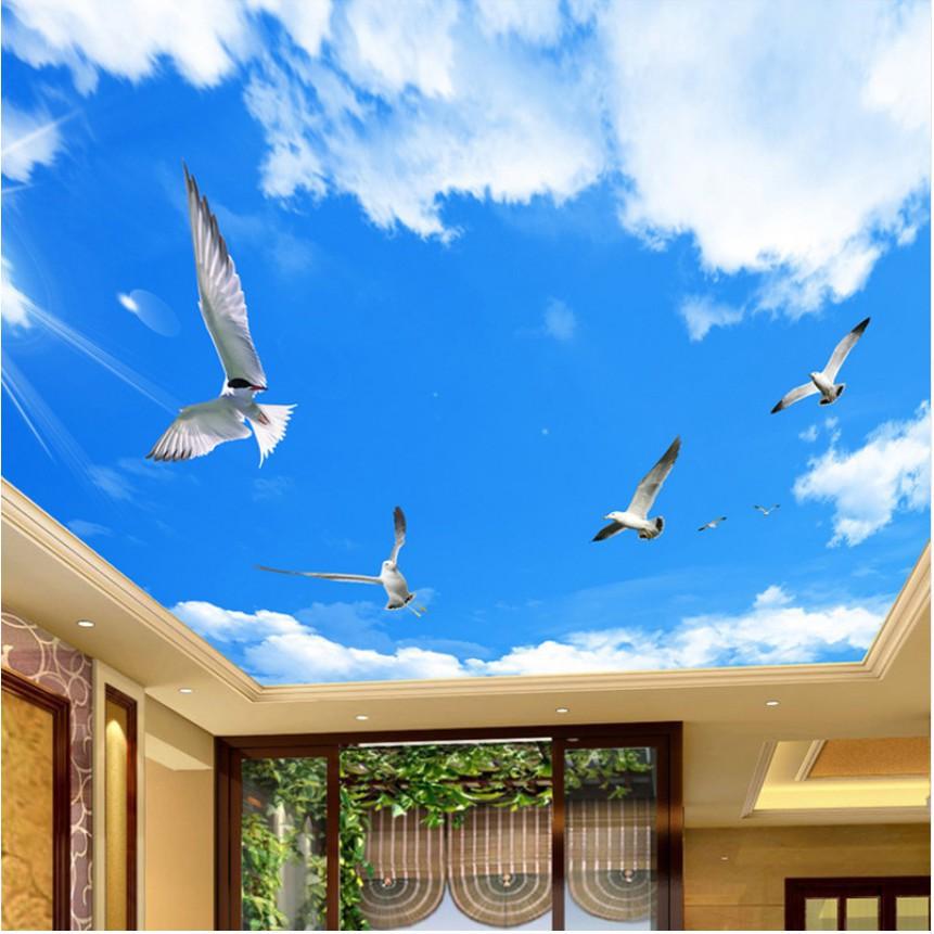 Bayar Di Tempat Blue Sky White Clouds Bird Ceiling Mural