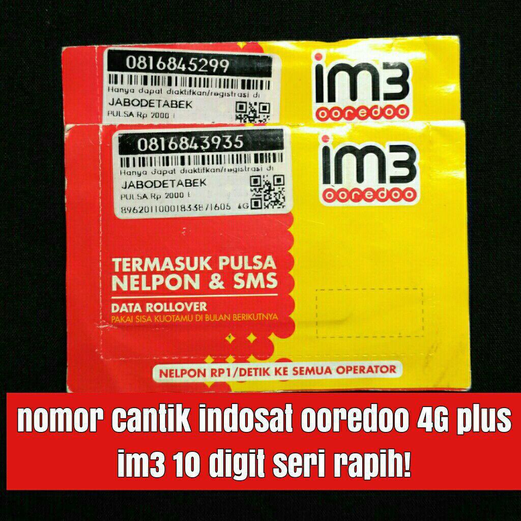 Nomer Cantik Nomor 10 Digit Indosat Ooredoo Im3 4g Plus Kartu