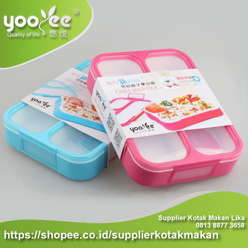 (578) kotak makan yooyee Grid Bento Lunch Box 4 Sekat Anti Bocor   Shopee Indonesia