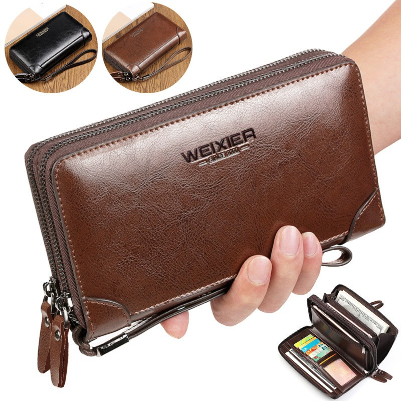 Leather Business Wallet Casual Passport Clutch Coin Pocket Large Capacity Purse