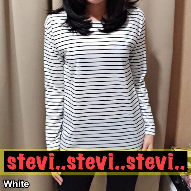 Rasa retro liar Hong Kong bergaris leher bulat lengan pendek T-shirt bottoming | Shopee Indonesia