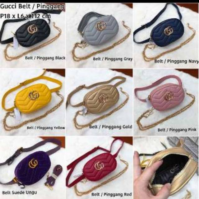 3e0fc56baab7e4 Tas Gucci GG Marmont Leather Belt Bag Import Rantai Ban pinggang Nagita  Selempang Murah Wanita | Shopee Indonesia