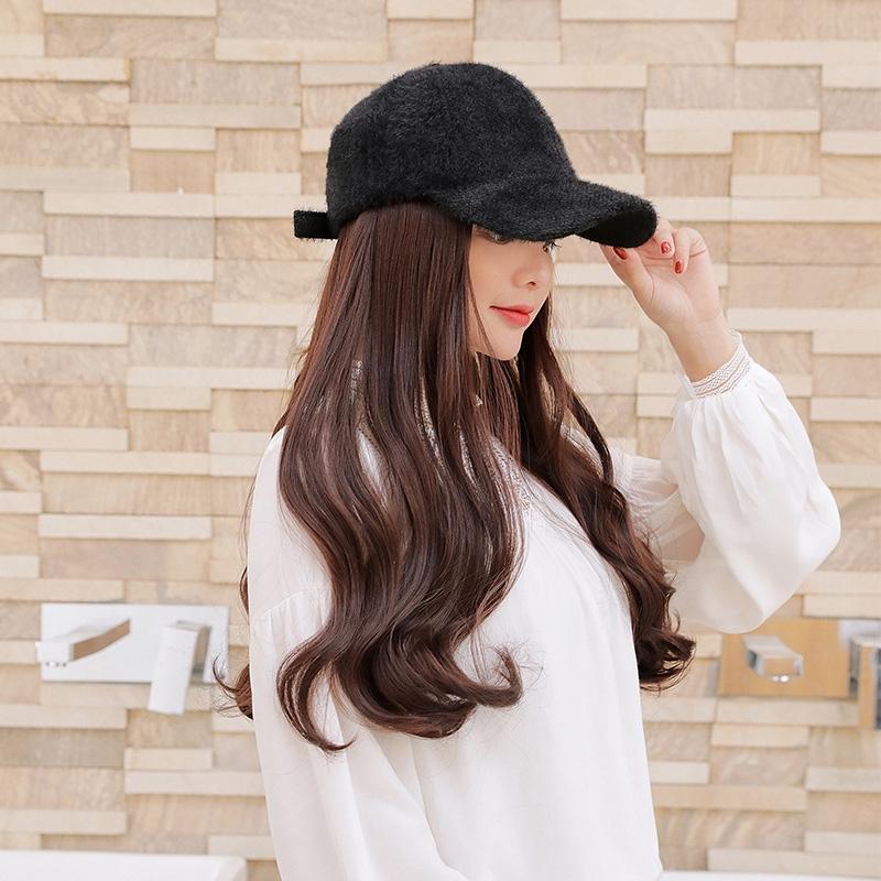 Hat Wig Satu Simulasi Perempuan Musim Gugur Alami Busana Alam Liar Panjang Keriting Topi Baseball Be Shopee Indonesia