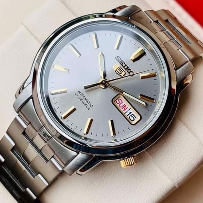 Jam SEIKO 5 ORIGINAL AUTOMATIC ORIGINAL 21 Jewels Dial Grey