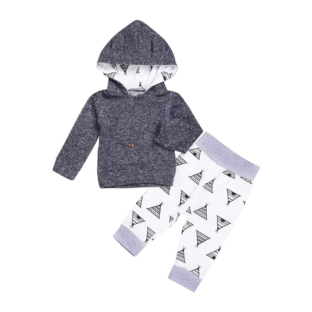2pcs Newborn Infant Baby Boys Girls Clothes Hooded Coat Tops+Pants Outfits Set