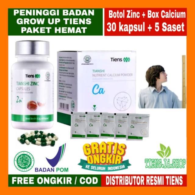 Tiens Peninggi Badan Herbal Original Paket Hemat 5 Saset Kalsium + 30 Kapsul Zinc by Tiens.id.   Shopee Indonesia