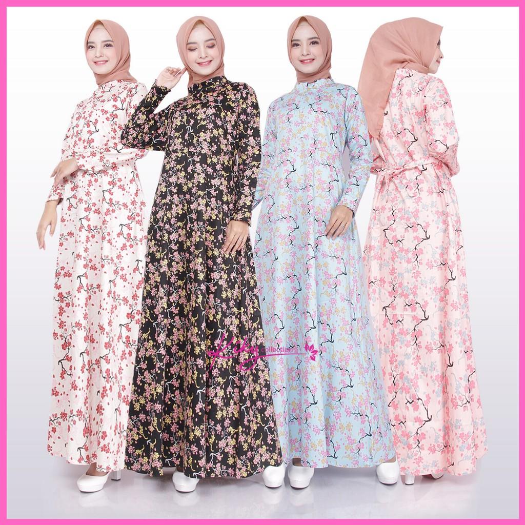 Busana Muslim Gamis Katun Jepang Ory Dewasa Muslimah Busui Cantik Kekinian  Remaja Motif Alamanda